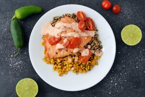 salmon quinoa bowl