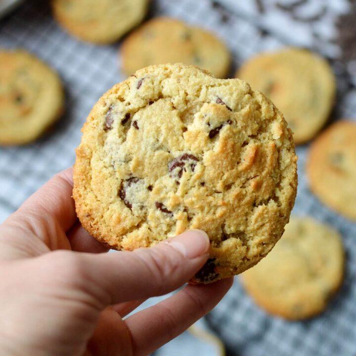 close up of an almond flour cookie