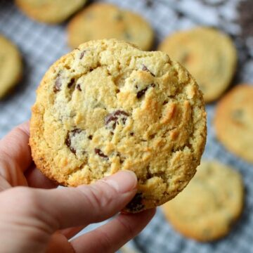 close up of almond flour chocolate chip cookie
