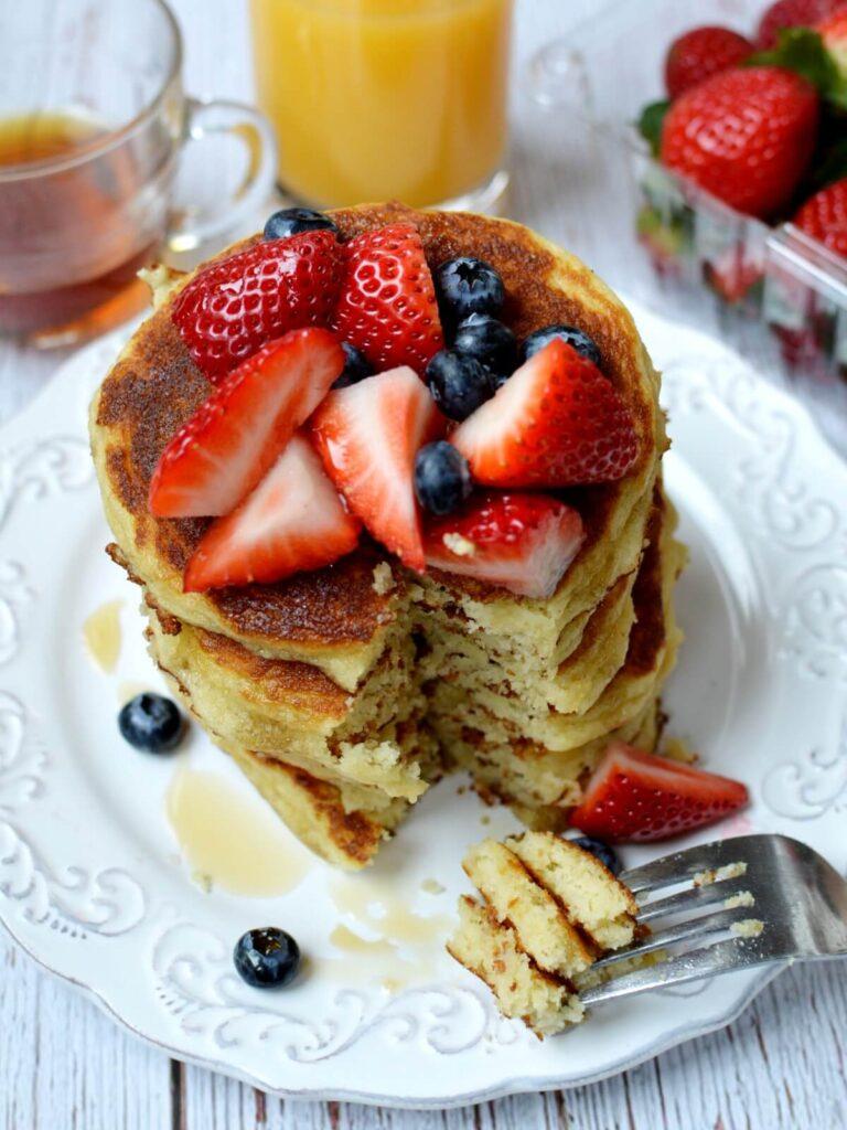 almond flour pancakes with a fork