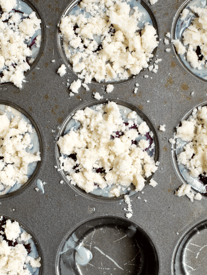 muffin batter with crumble on top