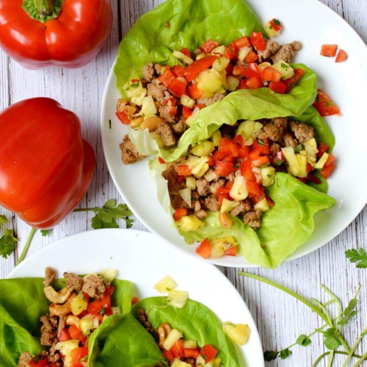 plate of turkey lettuce wraps