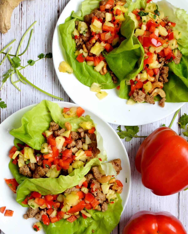 thai lettuce wraps on plates