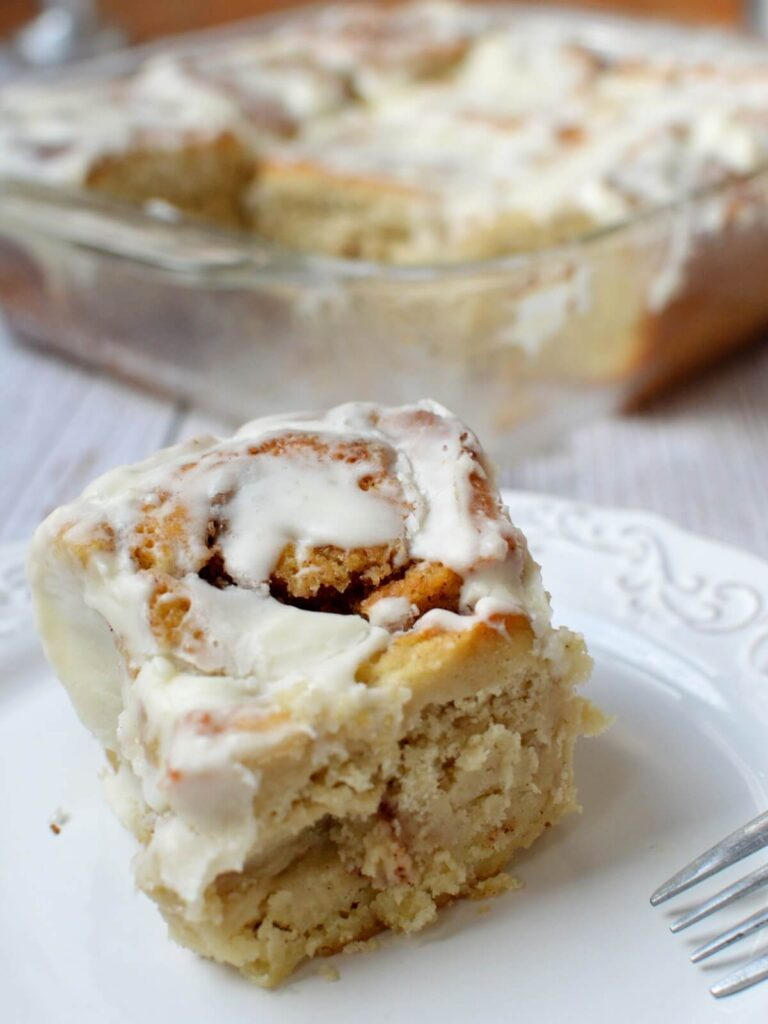 gluten free cinnamon roll on a plate