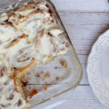 pan of gluten free cinnamon rolls