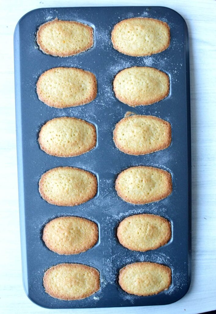 gluten free madeleines baked and still in the pan
