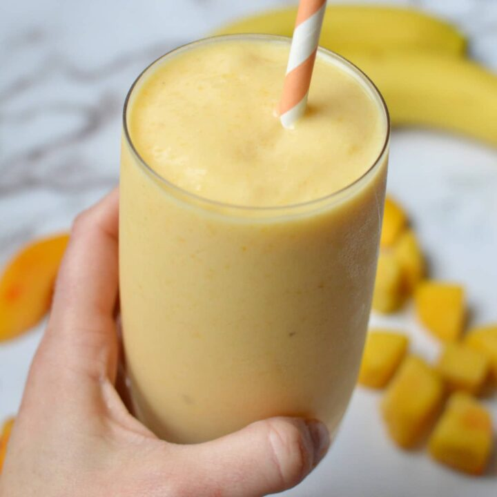 A banana peach smoothie