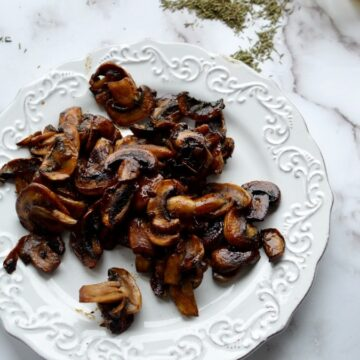 A plate of caramelized mushrooms