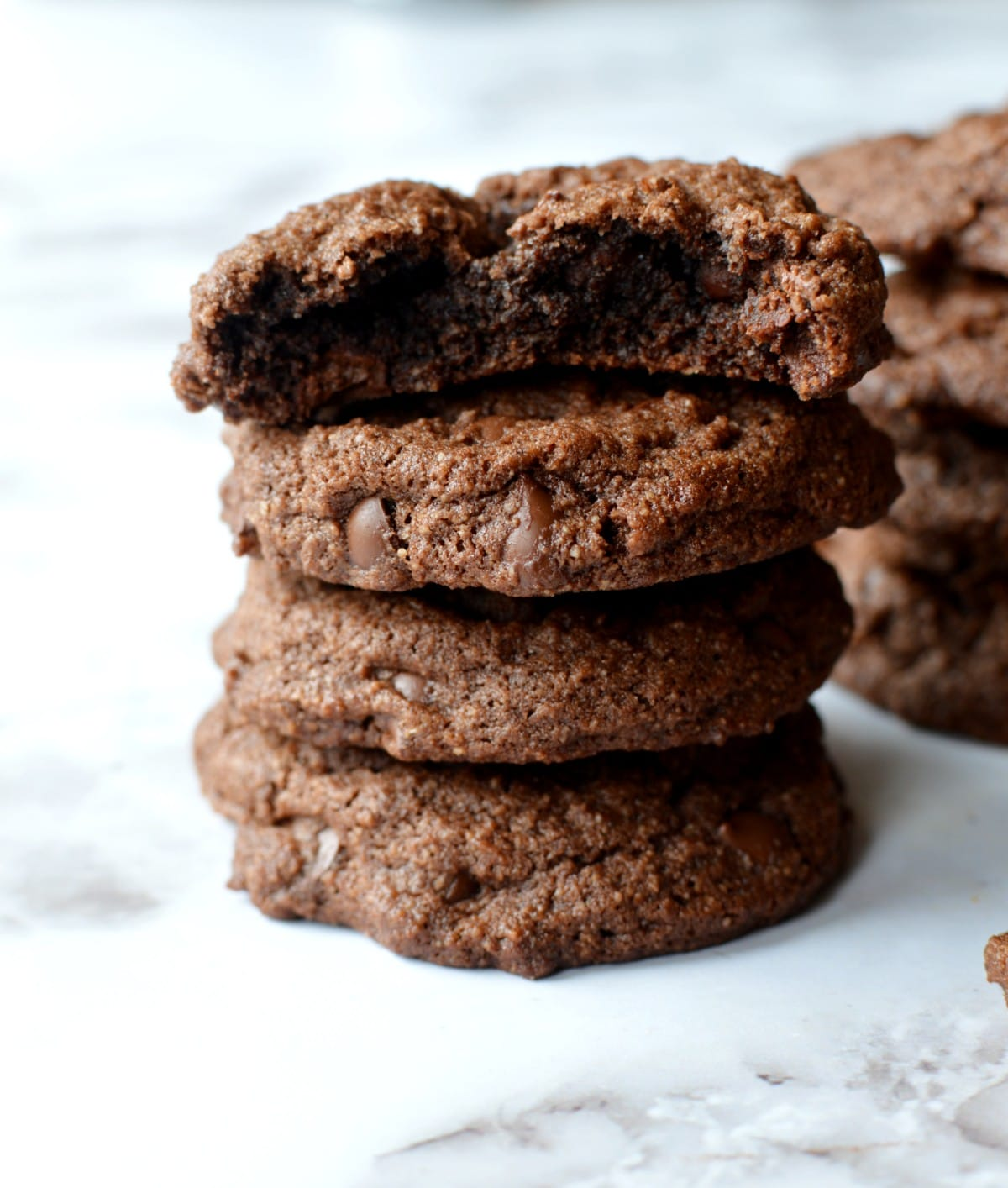 A stack of chocolate cookies