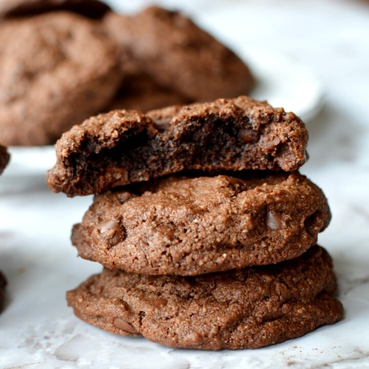 A stack of chewy chocolate almond flour cookies