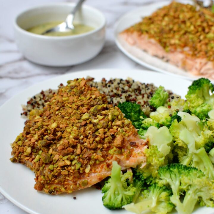 Pistachio crusted salmon on a plate