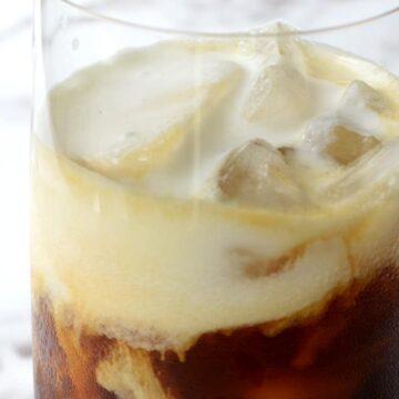 Sweet cream cold foam on iced coffee