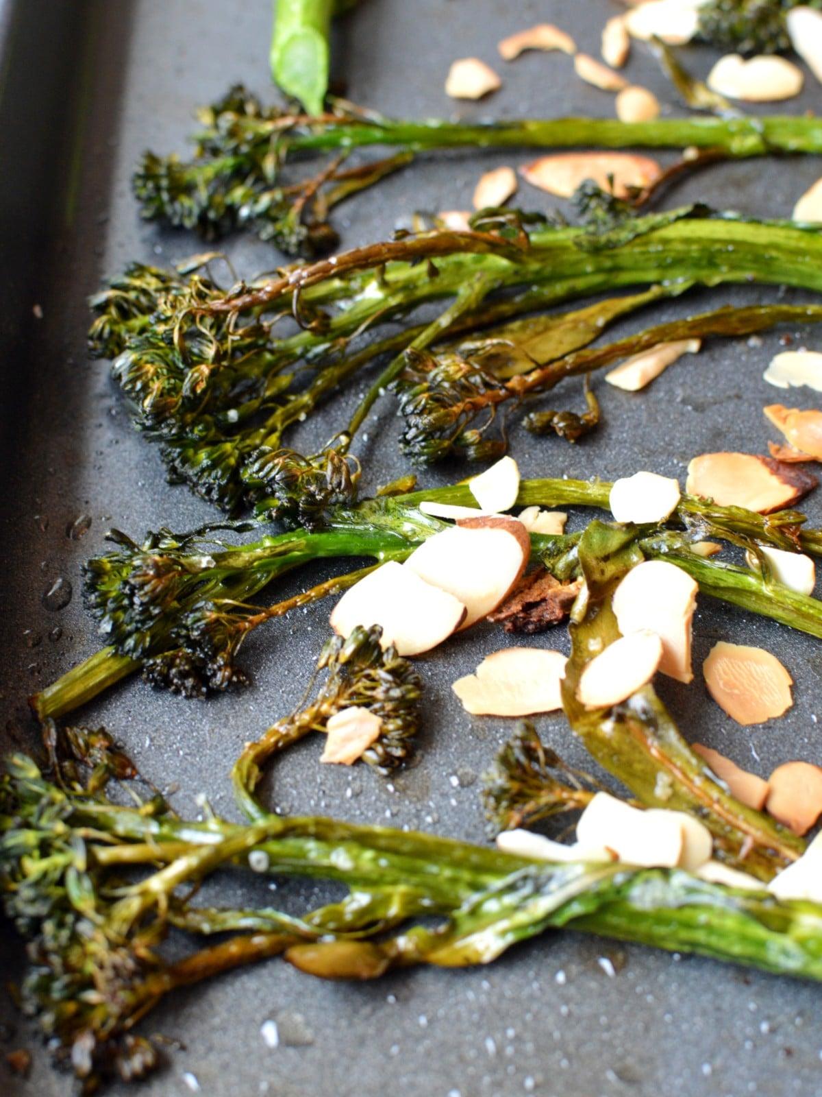 Roasted tenderstem broccoli with sliced almonds