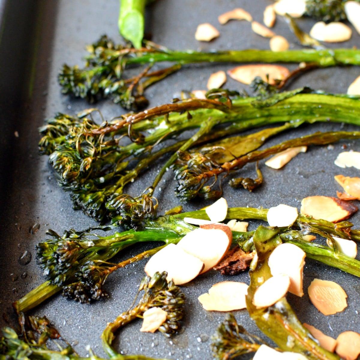 Crispy broccolini with sliced almonds