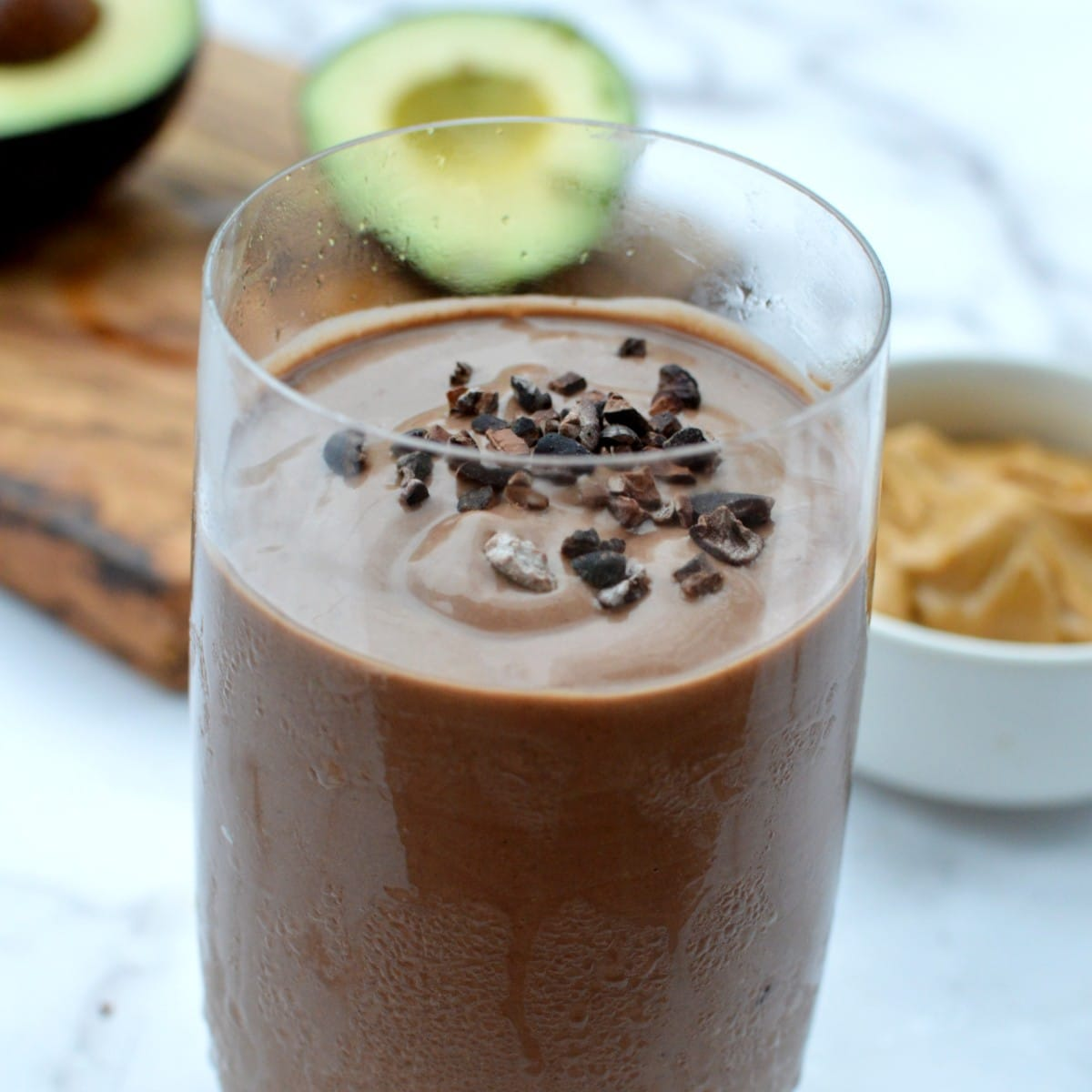 peanut butter avocado smoothie with chocolate