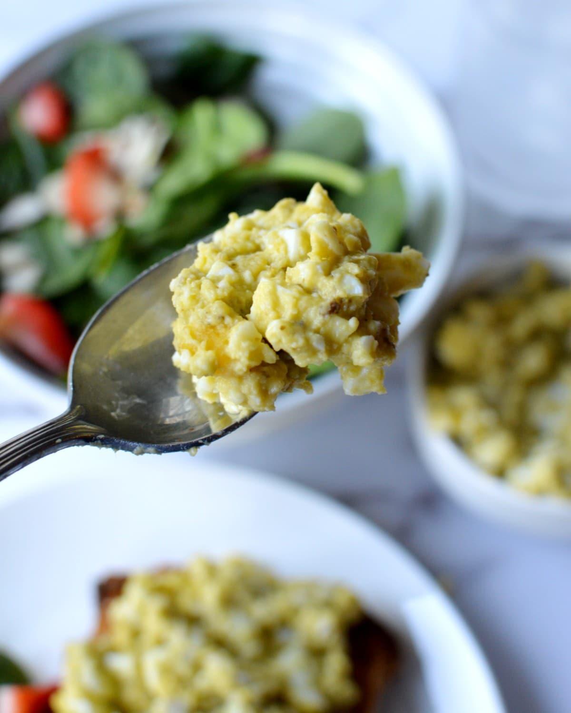 a forkful of egg salad