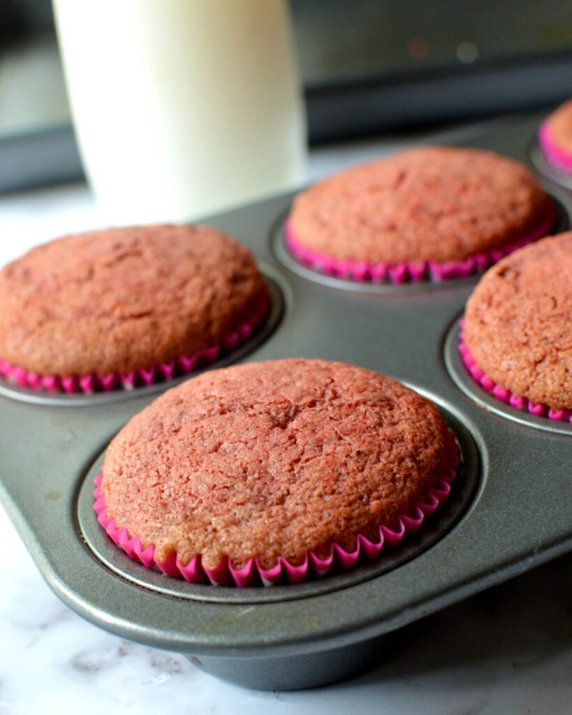 Red velvet cupcakes in a pan