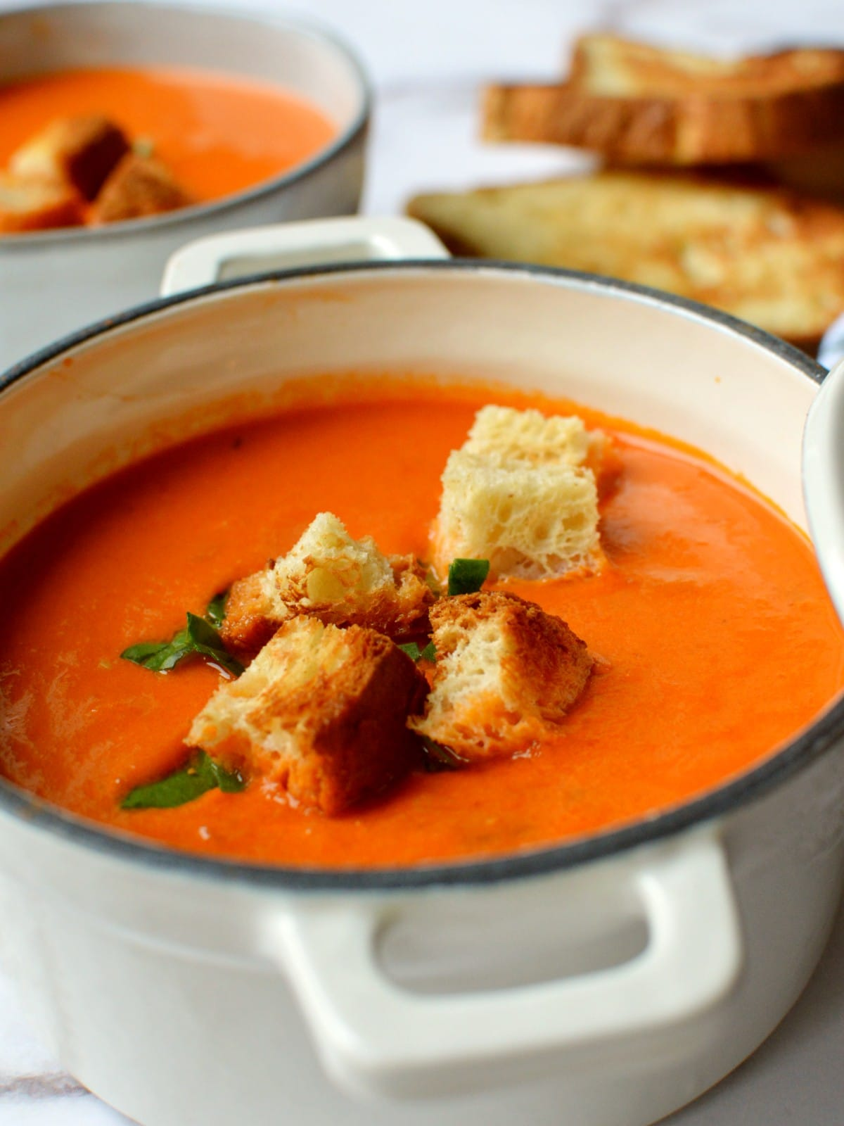 A close up of tomato soup