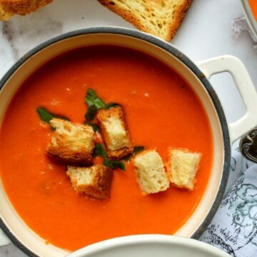 Tomato bisque with croutons