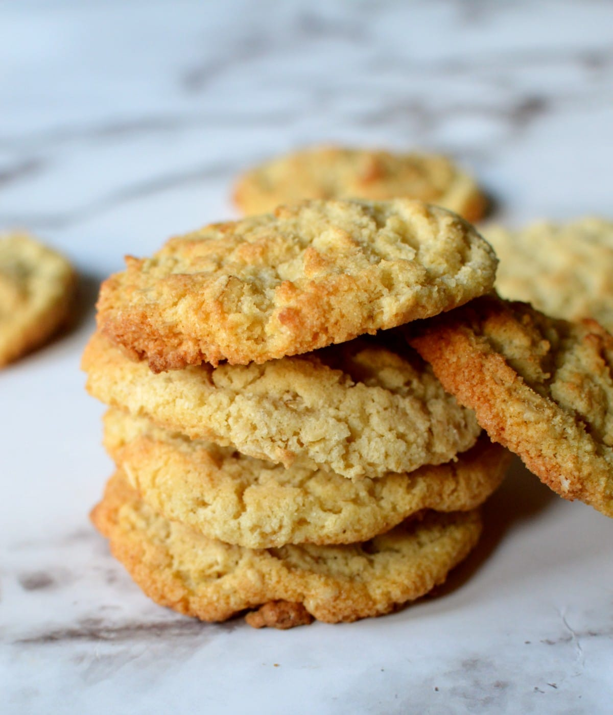 a stack of coconut oatmeal cookies