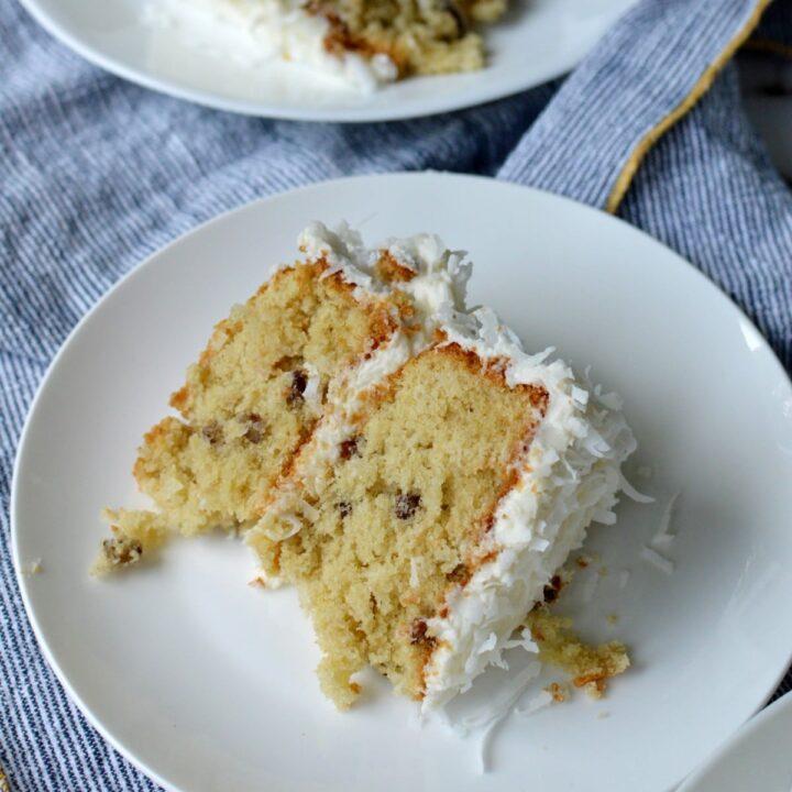 A slice of gluten free italian cream cake