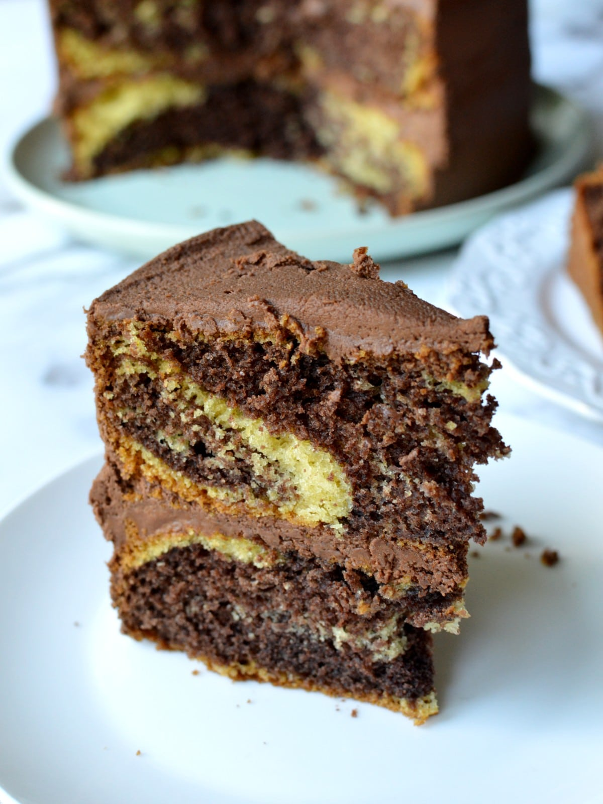 a slice of gluten free marble cake