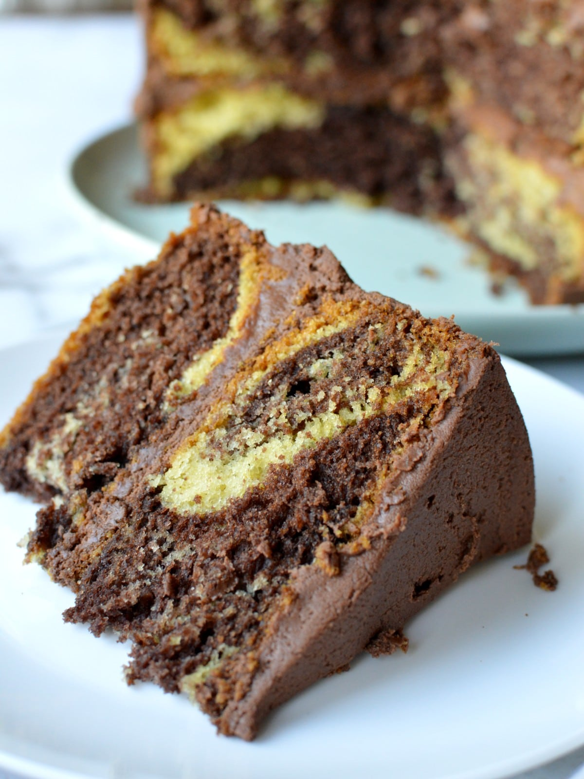 a slice of homemade marble cake