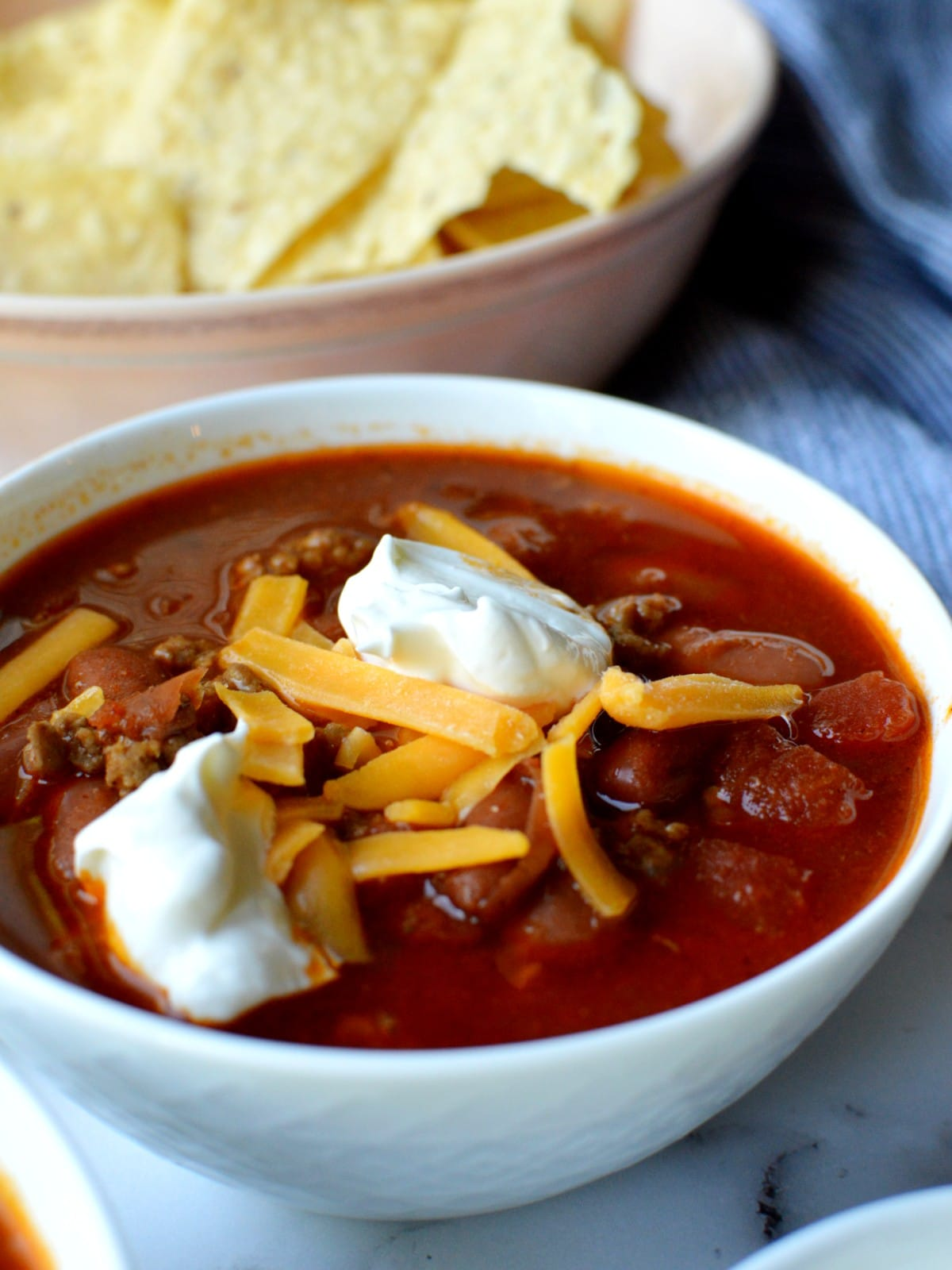 a bowl of homestyle chili with beef