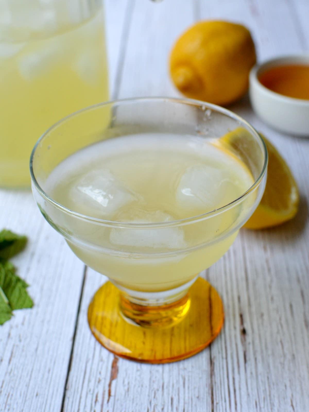 A glass of homemade lemonade