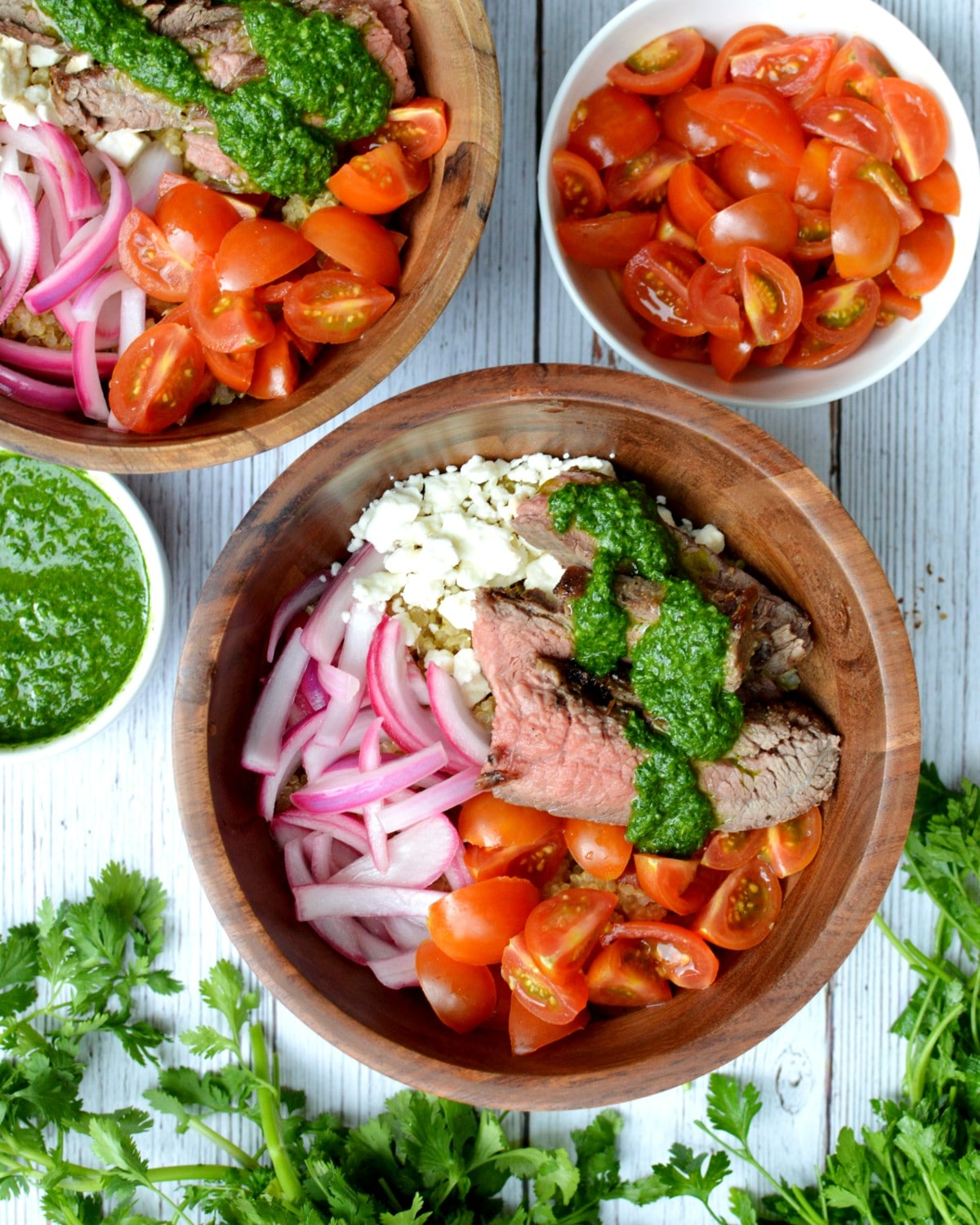 a chimichurri steak bowl with pickled onions