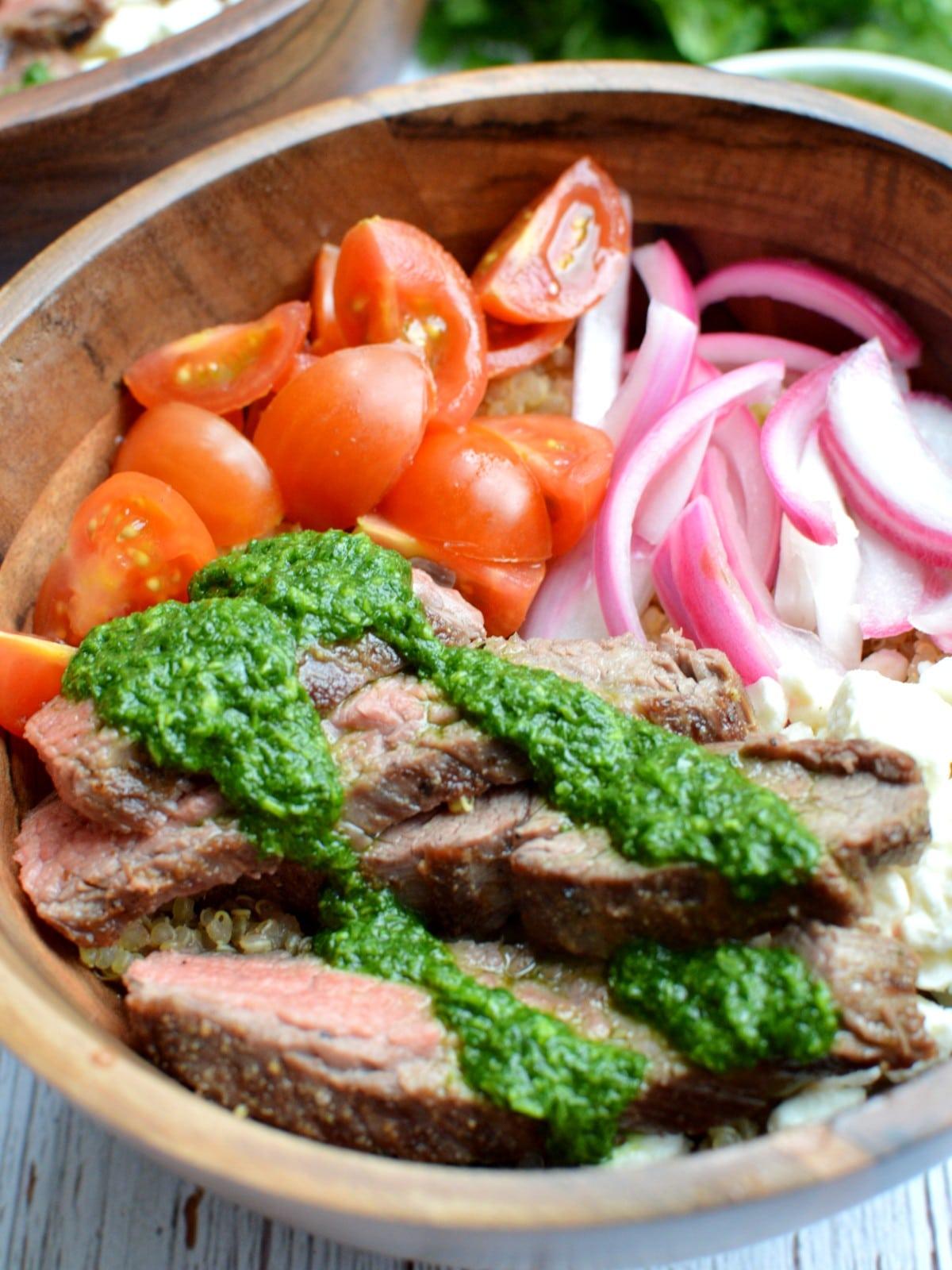 Close up of chimichurri steak