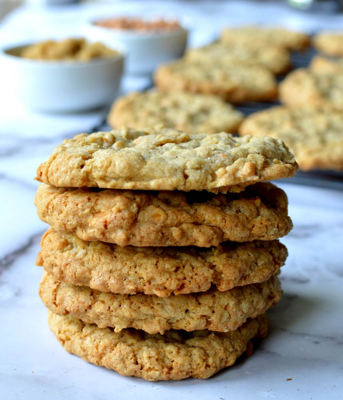 a stack of gluten free oatmeal scotchies
