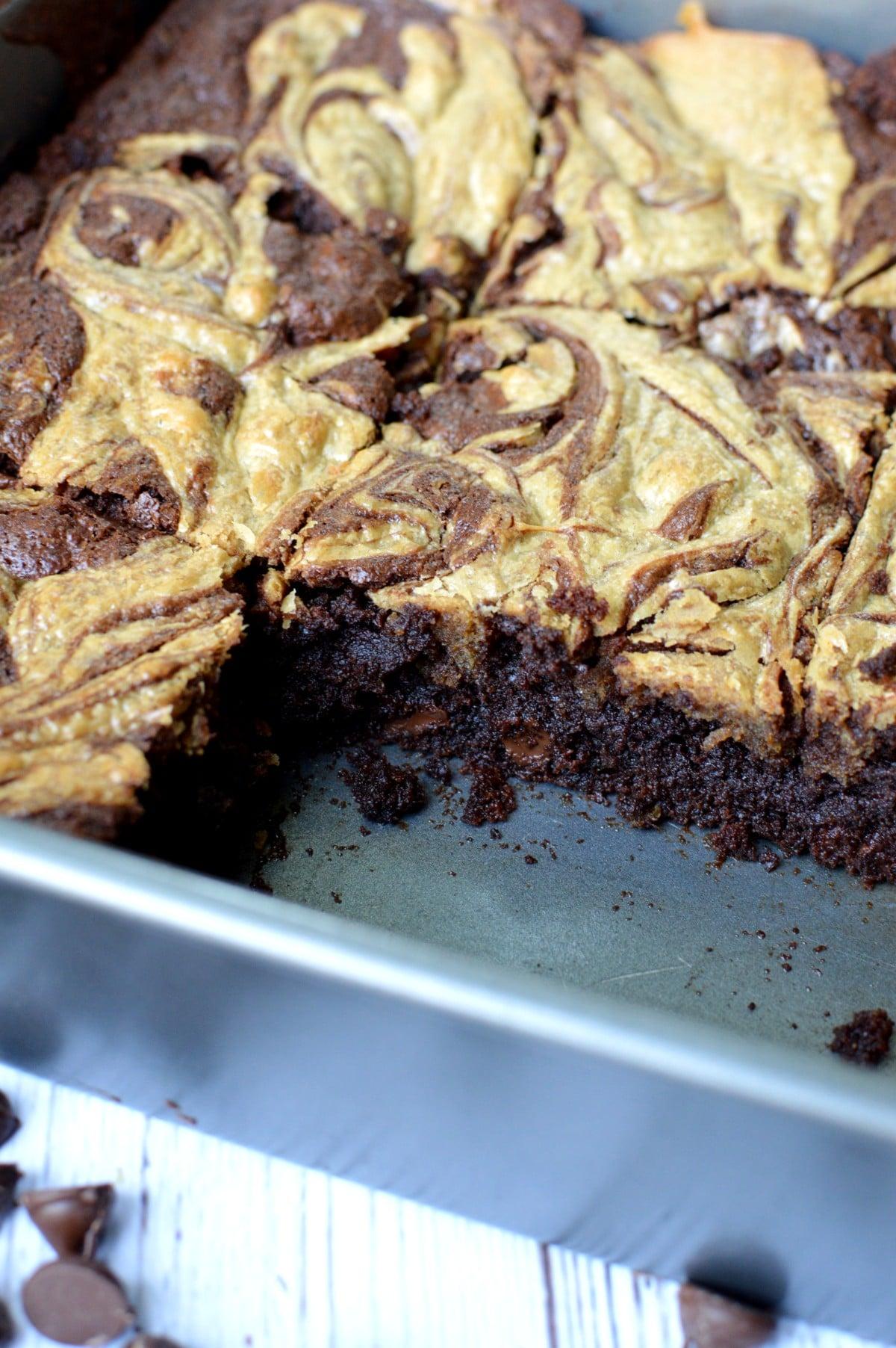 gluten free brownies in a pan