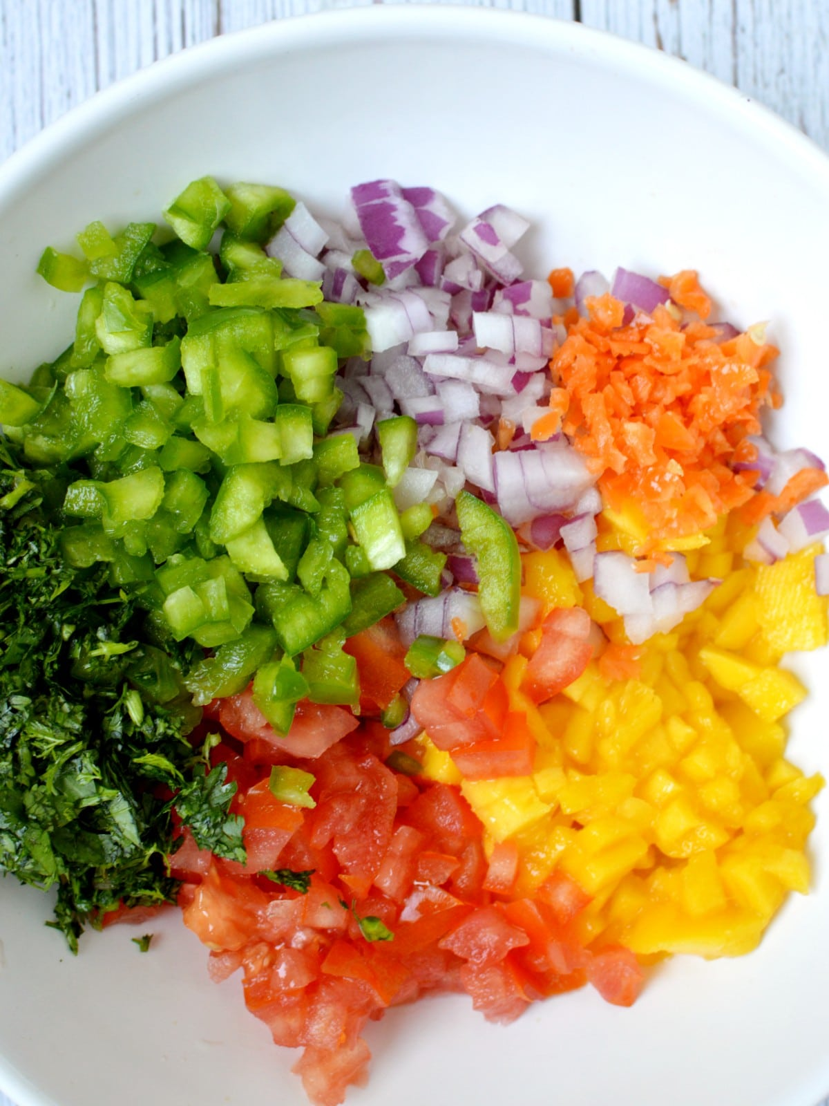 diced up vegetables and fruit