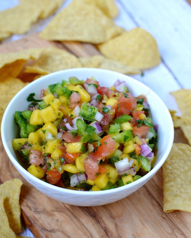 a bowl of mango habanero salsa