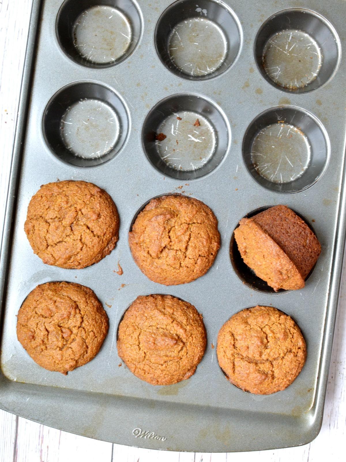 paleo pumpkin muffins in a pan