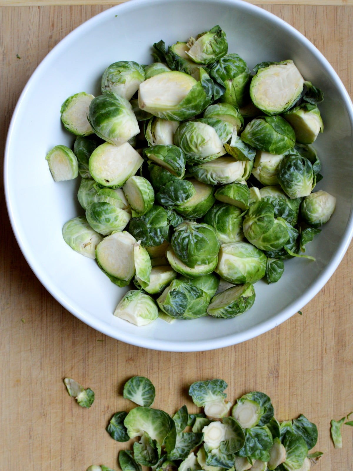 cut up brussel sprouts