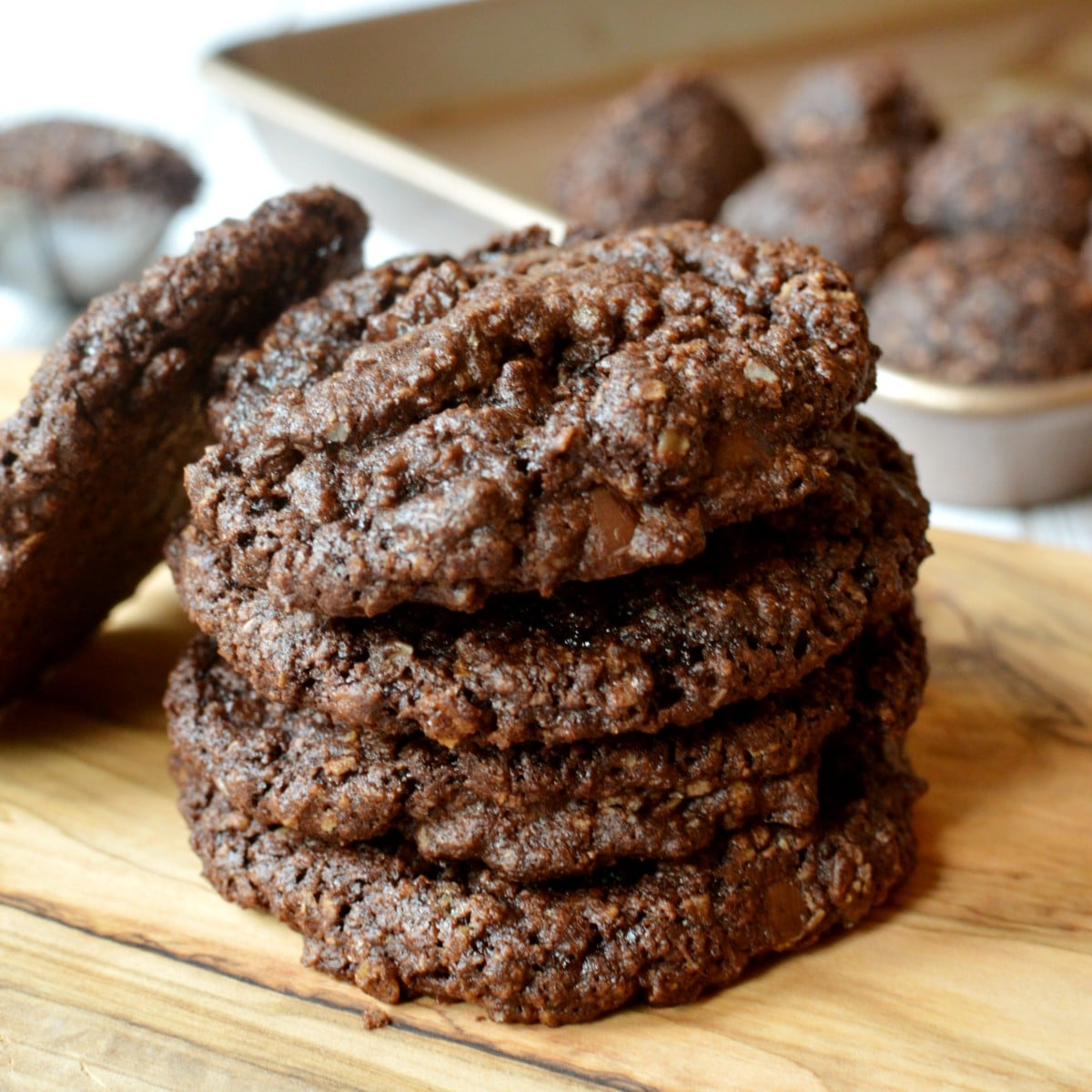 a stack of dark chocolate cookies