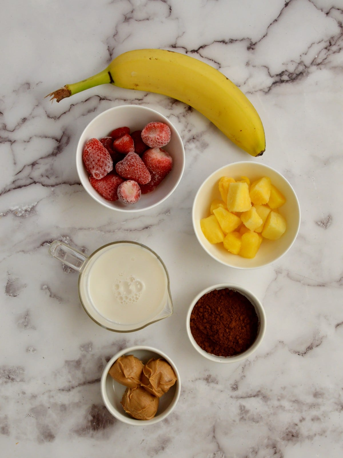 ingredients for a chocolate pineapple smoothie