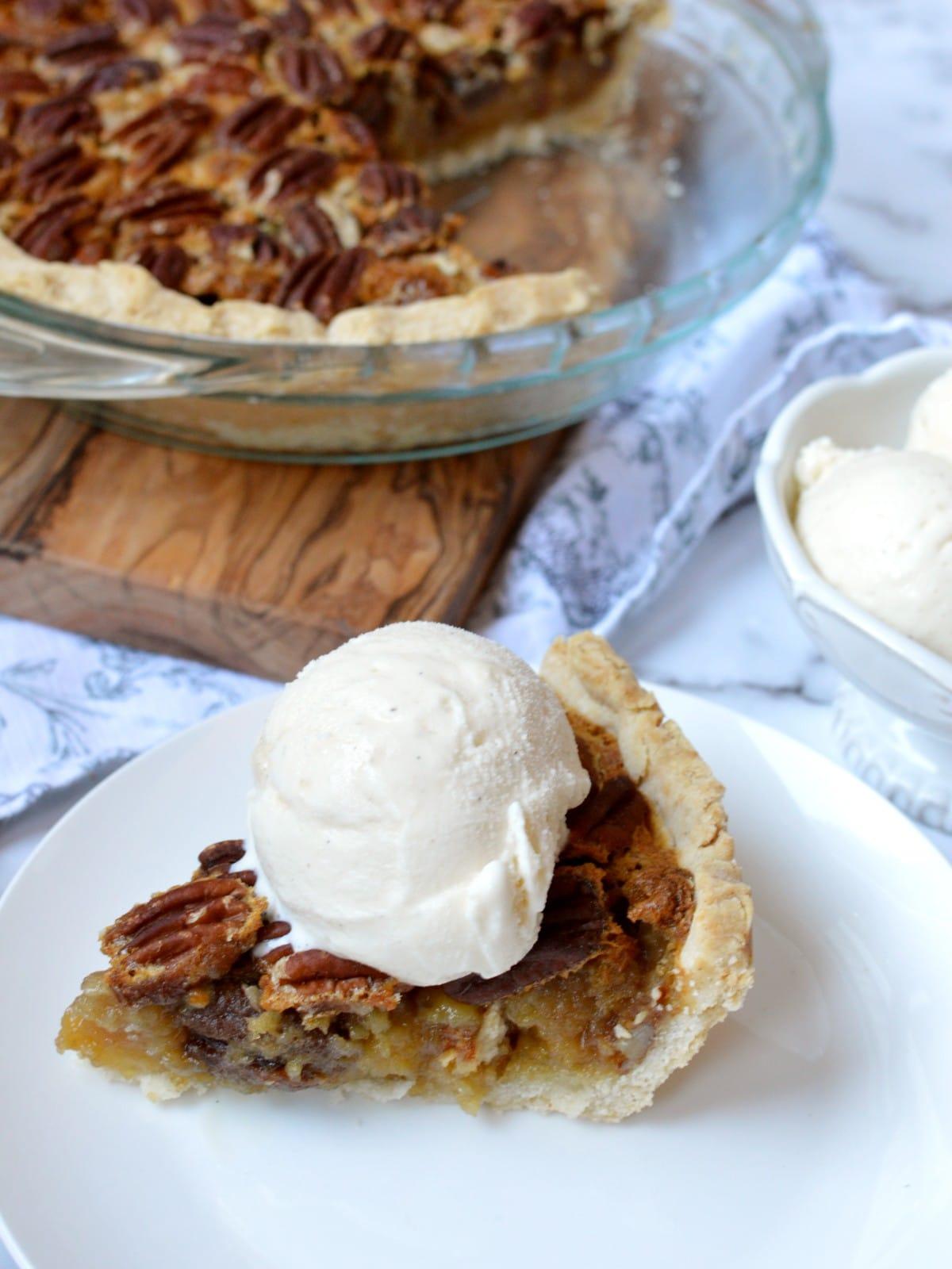 a slice of gluten free pecan pie