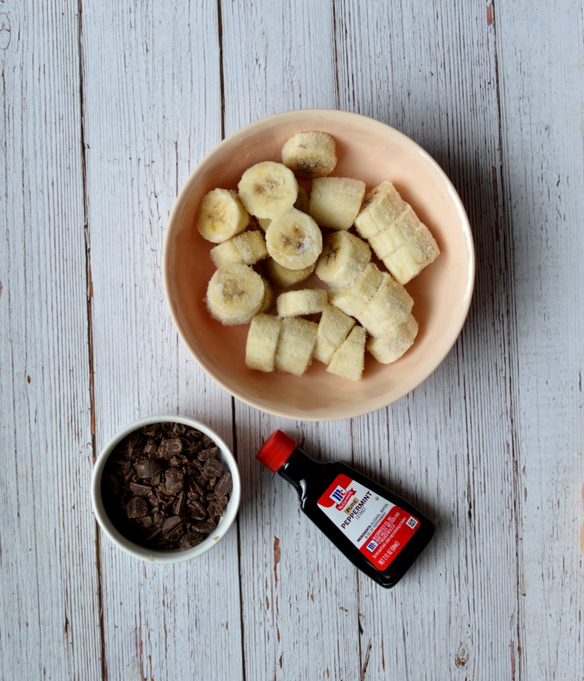 bananas, chocolate chips, and peppermint