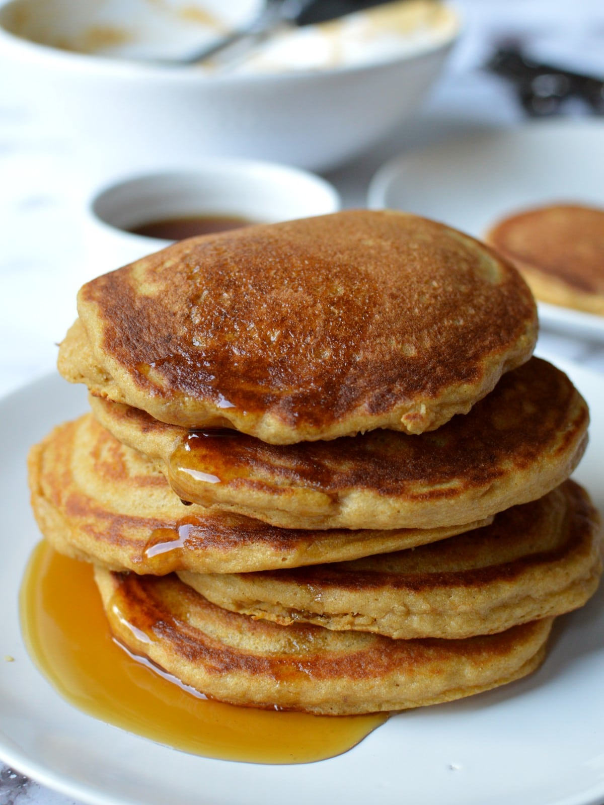 a stack of paleo pancakes
