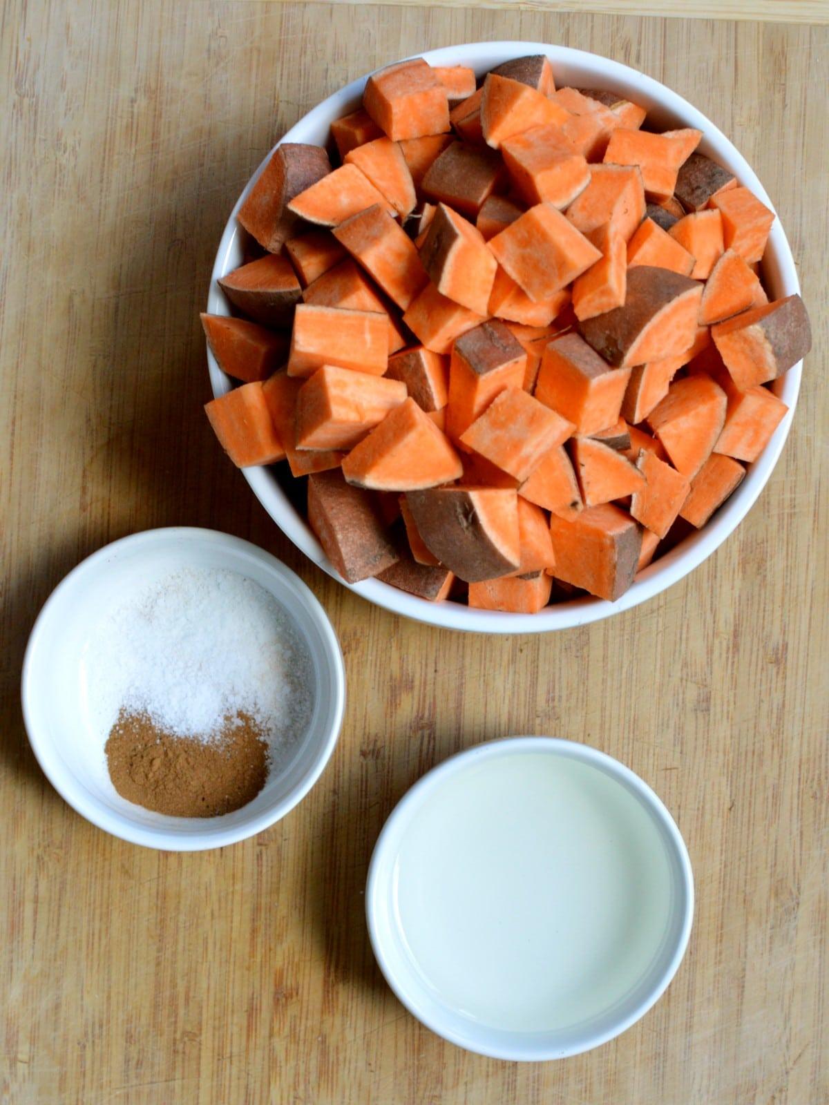 cut up sweet potatoes