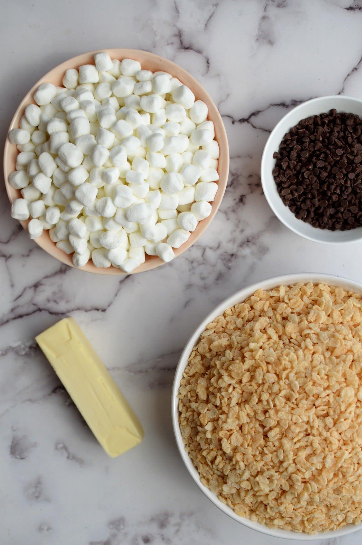 Ingredients for choc chip rice krispie treats